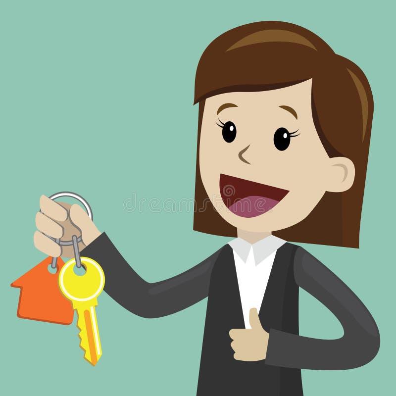 Mano de la empresaria que compra una casa Los agentes inmobiliarios dan el donante de llaves al cliente Concepto 6 de las propied stock de ilustración