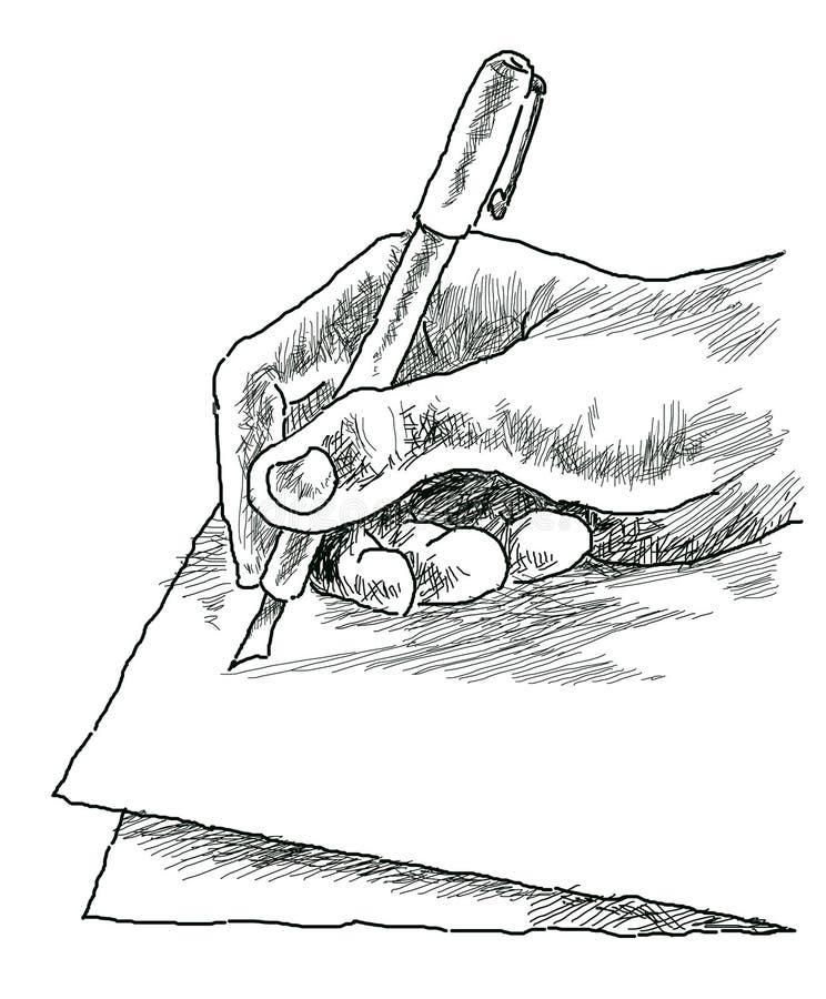 Mano de la escritura ilustración del vector