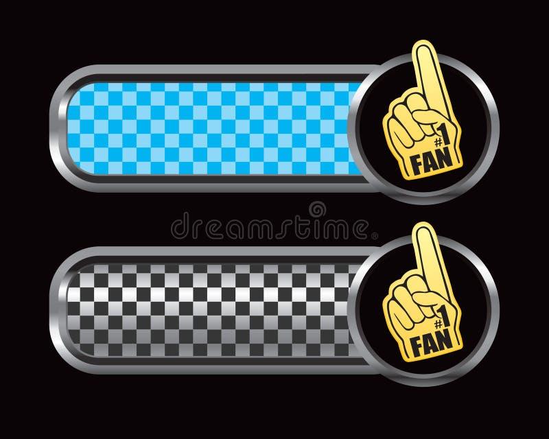Mano de la espuma del aficionado deportivo en anuncio checkered azul y negro ilustración del vector