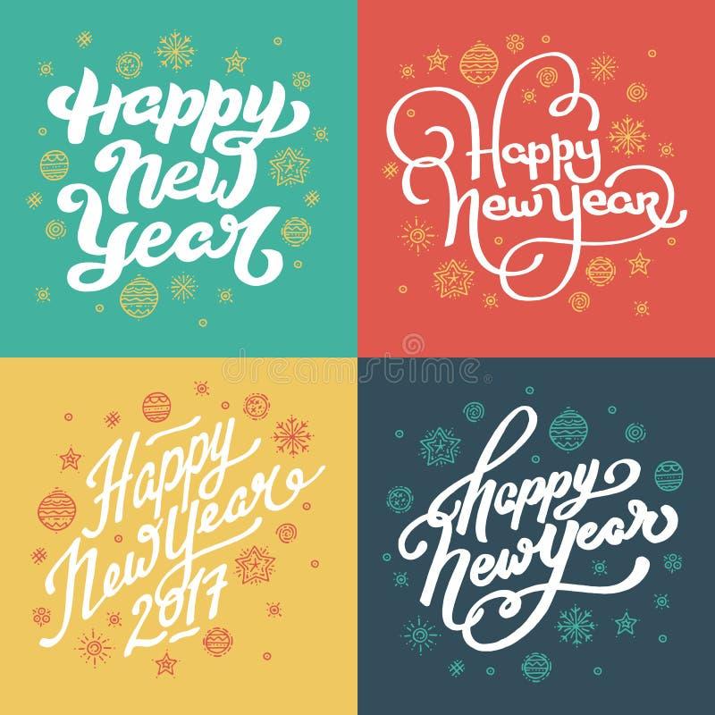 Mano de la Feliz Año Nuevo dibujada poniendo letras a las postales fijadas libre illustration