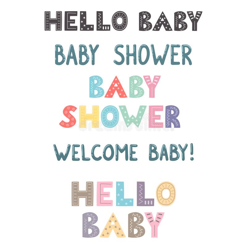 Mano de la fiesta de bienvenida al bebé dibujada poniendo letras a la colección libre illustration