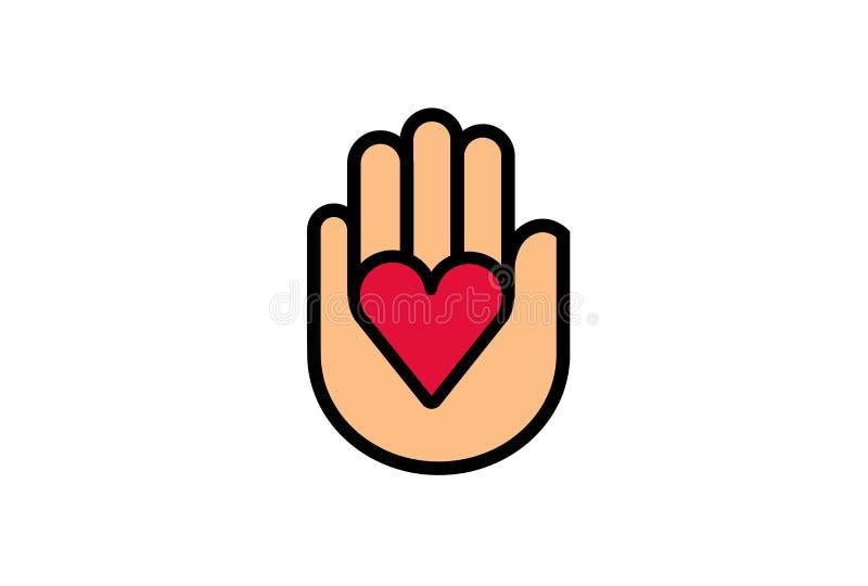 Mano de la forma del corazón que da el ejemplo del diseño del símbolo ilustración del vector