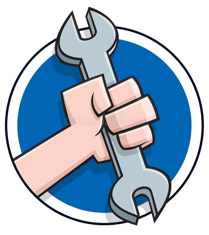 Mano de la historieta que sostiene una llave stock de ilustración