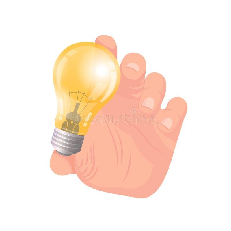 Mano de la idea del negocio del vector del bulbo de la tenencia del hombre stock de ilustración