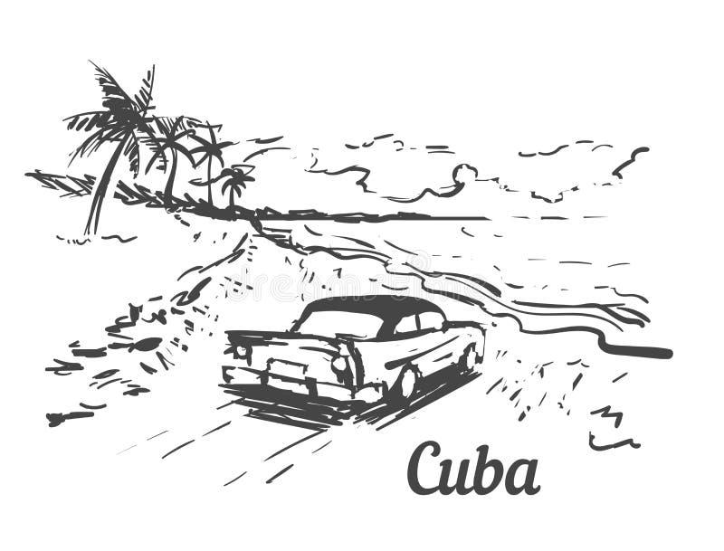 Mano de la isla de Cuba del Palm Beach dibujada Ejemplo del vector del bosquejo de Cuba stock de ilustración