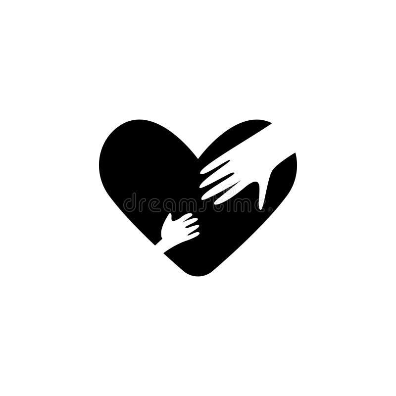 mano de la madre y del niño en icono del corazón Elemento del día de la madre para los apps móviles del concepto y del web Mano d ilustración del vector