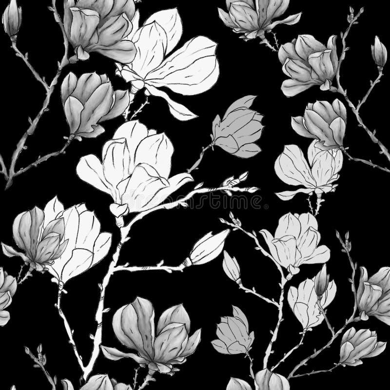 Mano de la magnolia o de la flor del sacura que dibuja el modelo inconsútil en colores pastel stock de ilustración