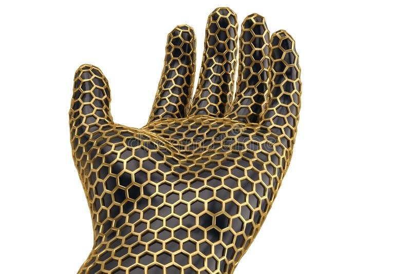 Mano de la malla del hexágono del oro en el fondo blanco ilustración 3D ilustración del vector