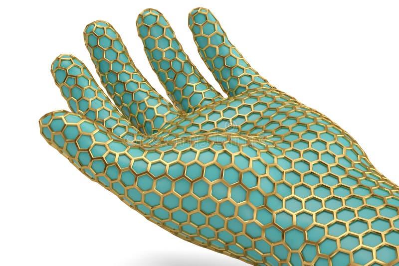 Mano de la malla del hexágono del oro en el fondo blanco ilustración 3D libre illustration