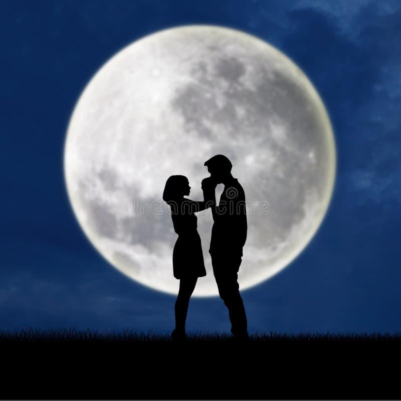 Mano de la muchacha del beso del individuo en fondo azul de Luna Llena ilustración del vector
