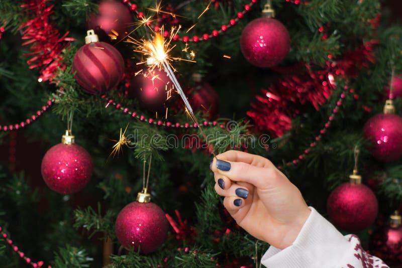 Mano de la muchacha que sostiene ráfaga ardiendo y el árbol de navidad de la bengala imagen de archivo
