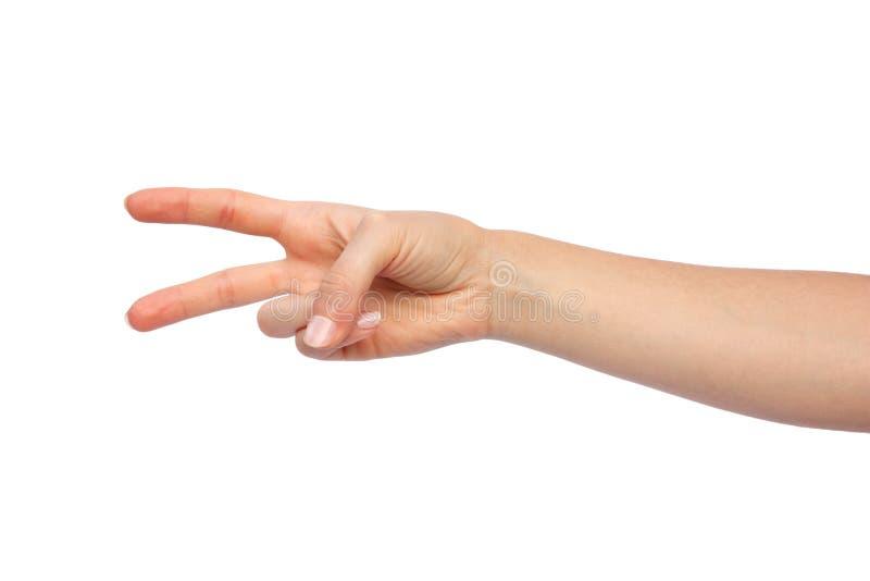 Mano de la mujer con dos dedos imágenes de archivo libres de regalías