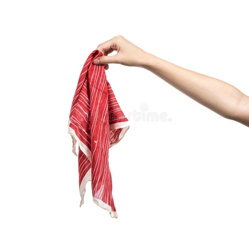 Mano de la mujer joven que sostiene el pañuelo aislado foto de archivo libre de regalías