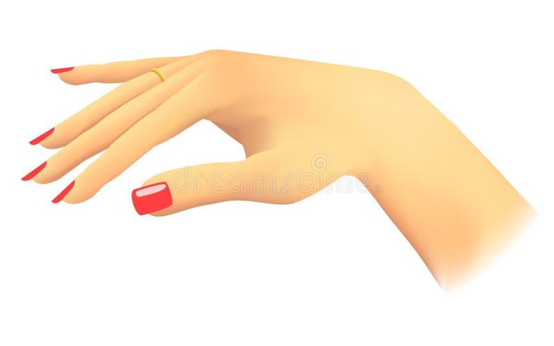 Mano de la mujer, mostrando su anillo stock de ilustración