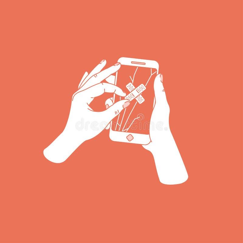 Mano de la mujer que intenta reparar smartphone agrietado con yeso Teléfono con la pantalla quebrada Servicio de reparación del t libre illustration