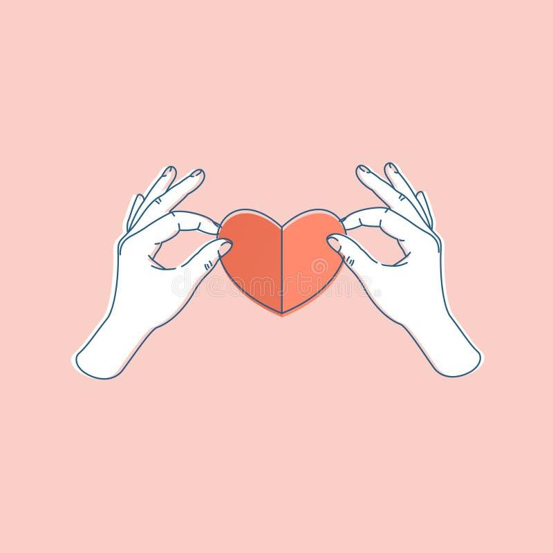 Mano de la mujer que lleva a cabo el corazón de papel Dimensión de una variable del corazón Ilustración del vector stock de ilustración