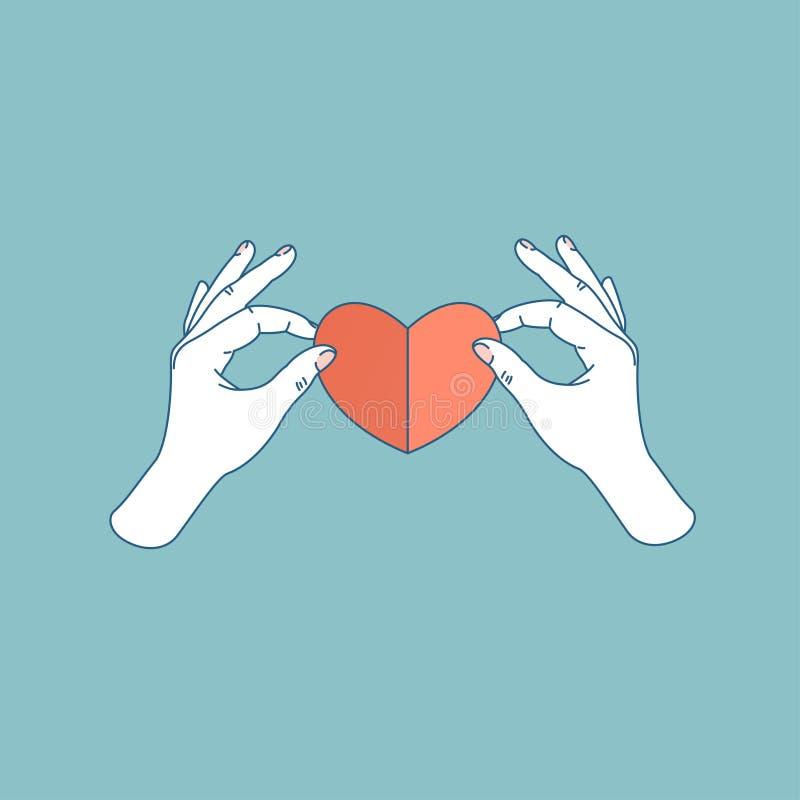 Mano de la mujer que lleva a cabo el corazón de papel Forma hecha a mano del corazón Ilustración del vector libre illustration