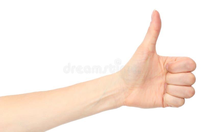 Mano de la mujer que muestra los pulgares para arriba en el fondo blanco fotos de archivo libres de regalías