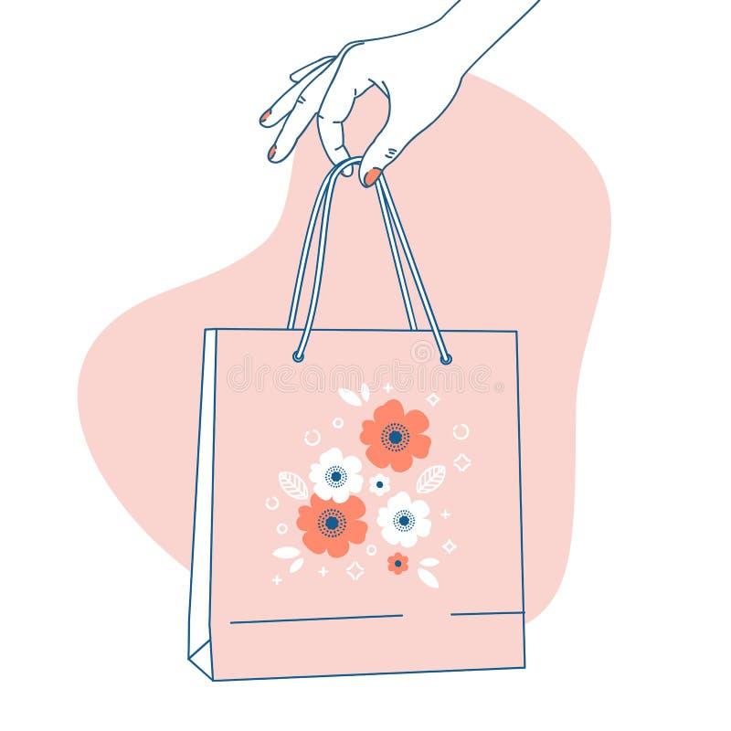 Mano de la mujer que sostiene la bolsa de papel Fondo de las compras Ilustración del vector stock de ilustración