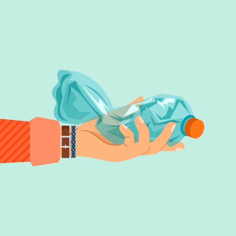 Mano de la mujer que sostiene la botella plástica rota libre illustration