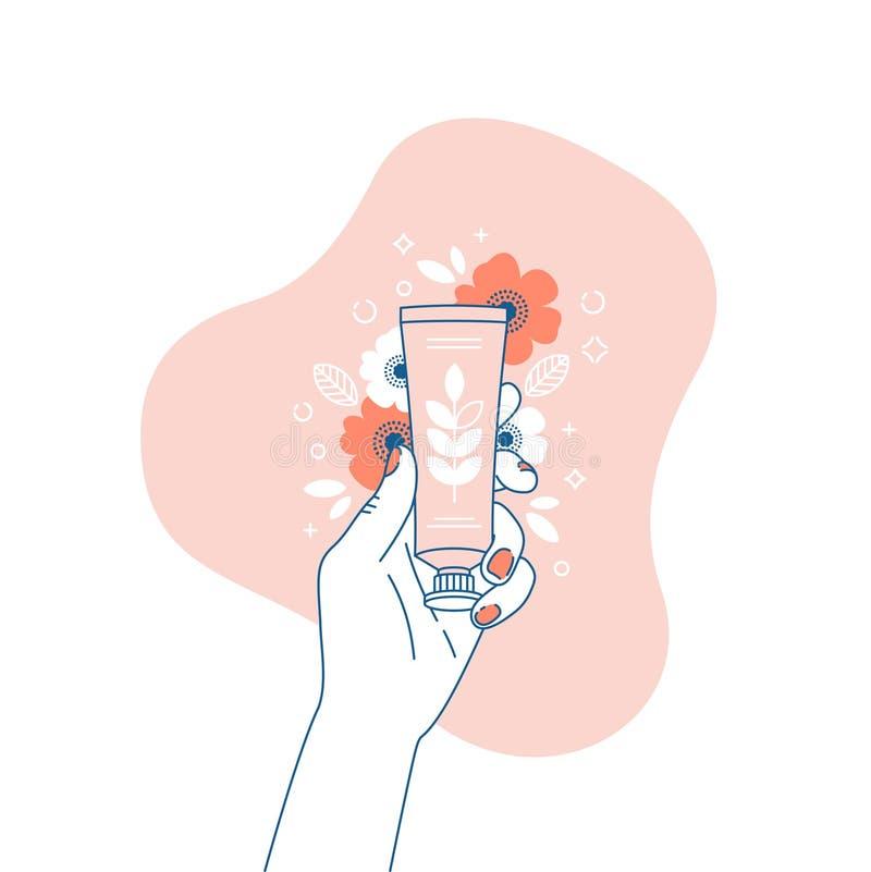 Mano de la mujer que sostiene el tubo poner crema Ejemplo floral de los cosméticos Compras Ilustración del vector ilustración del vector