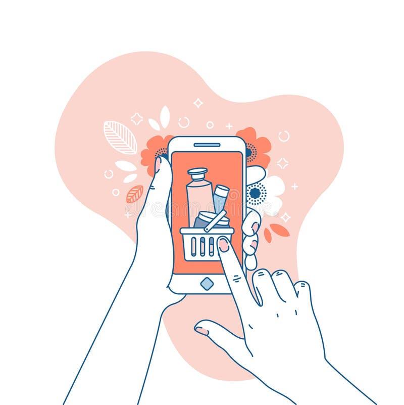 Mano de la mujer que sostiene smartphone Compras en línea Ejemplos de los cosméticos Ilustración del vector ilustración del vector