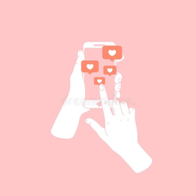 Mano de la mujer que sostiene smartphone Nuevos mensajes y gustos Medias notificaciones sociales Ilustración del vector ilustración del vector