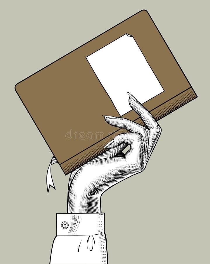 Mano de la mujer que sostiene un libro ilustración del vector
