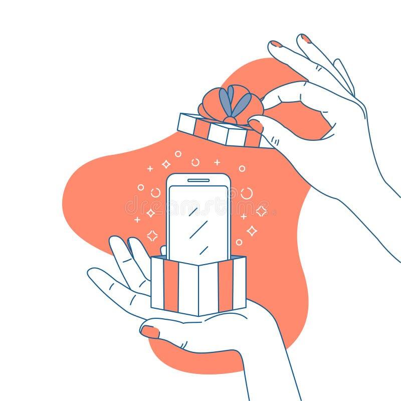 Mano de la mujer que sostiene una caja de regalo con smartphone Ejemplo de la sorpresa Compras Ilustración del vector stock de ilustración