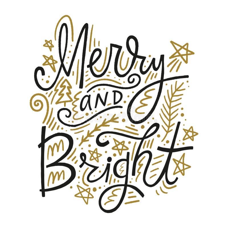 Mano de la Navidad dibujada poniendo letras a imagen del día de fiesta Texto feliz y brillante con los elementos decorativos del  stock de ilustración