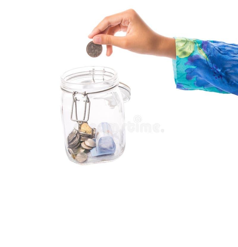 Mano de la niña con el dinero II fotos de archivo