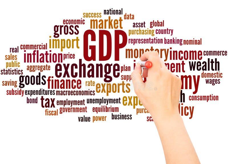 Mano de la nube de la palabra del GDP que escribe concepto ilustración del vector