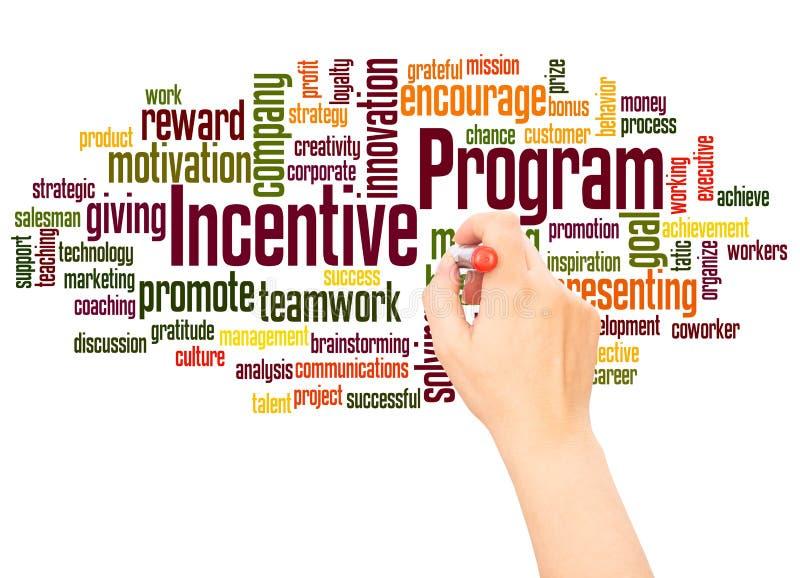 Mano de la nube de la palabra del programa incentivo que escribe concepto stock de ilustración