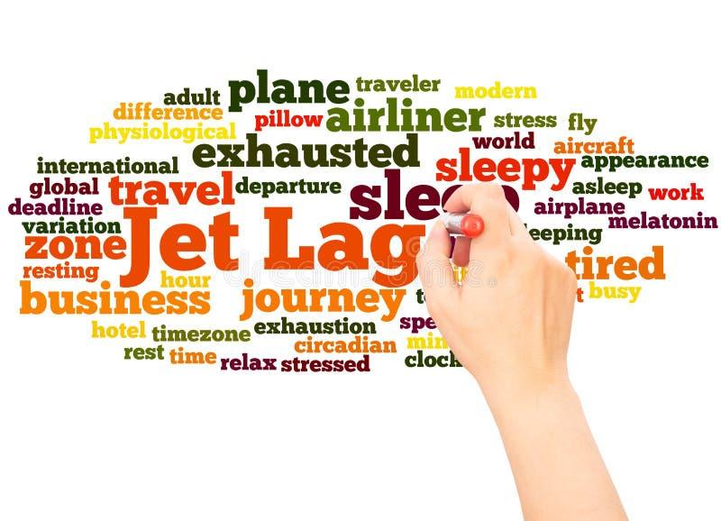 Mano de la nube de la palabra de Jet Lag que escribe concepto imágenes de archivo libres de regalías