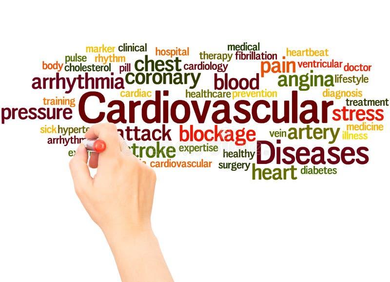 Mano de la nube de la palabra de las enfermedades cardiovasculares que escribe concepto foto de archivo libre de regalías