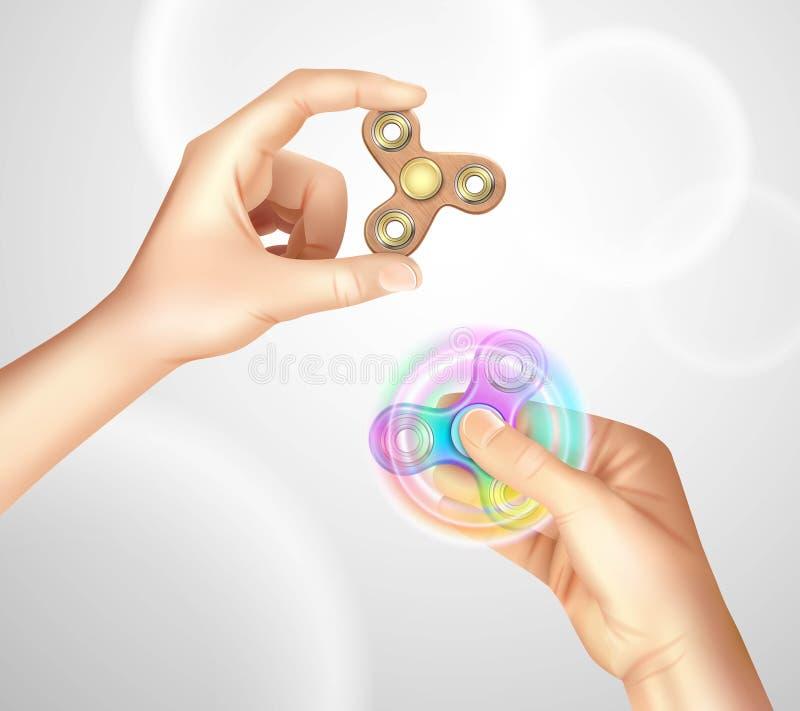 Mano de la persona agitada del hilandero del finger realista ilustración del vector
