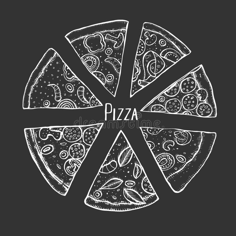 Mano de la pizza dibujada stock de ilustración