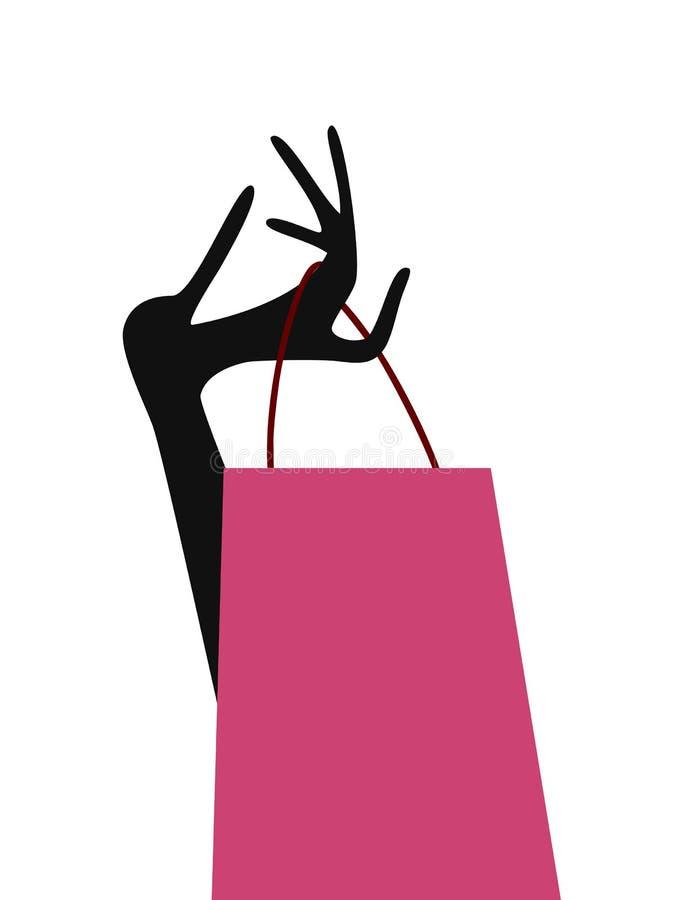 Mano de la señora con el bolso de compras stock de ilustración
