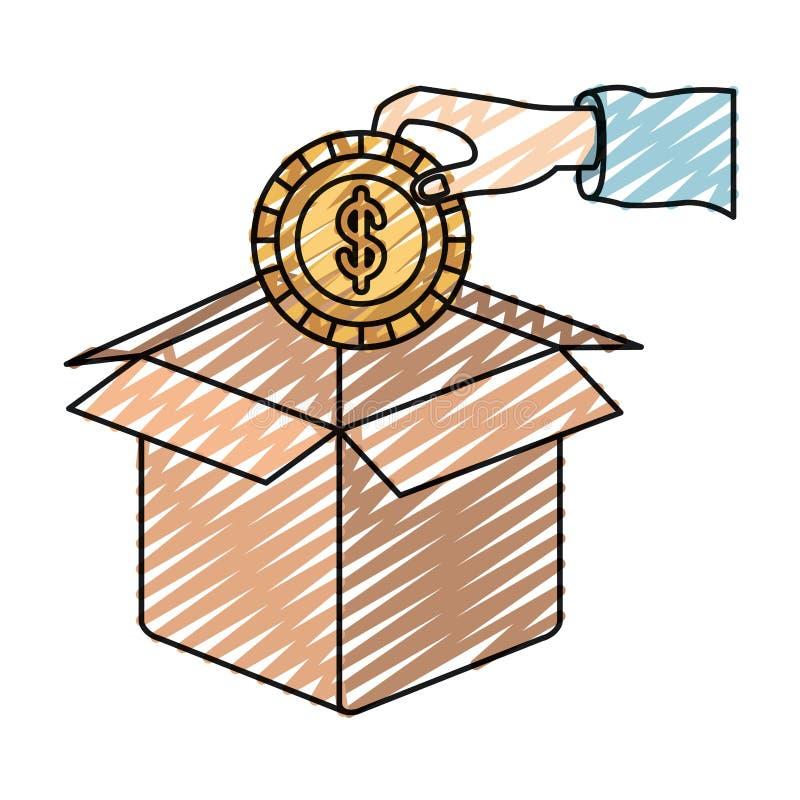 Mano de la silueta del creyón del color que sostiene una moneda con símbolo del dólar dentro para depositar en caja de cartón stock de ilustración