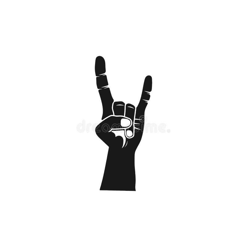 Mano de la silueta del rollo de la roca Icono negro de metales pesados Símbolo de música duro del vector de la acción aislado en  stock de ilustración