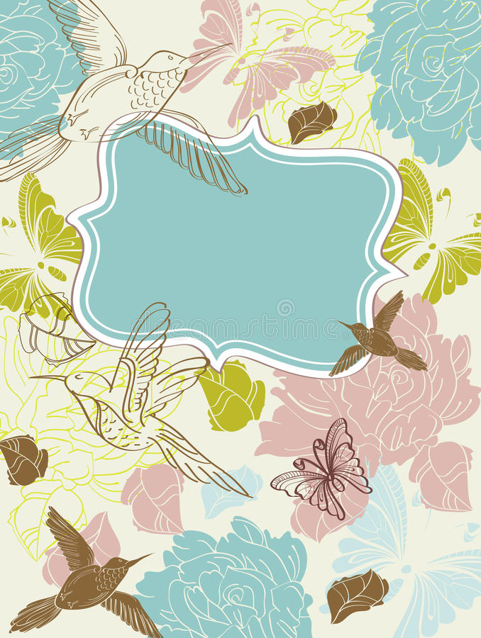Mano de la tarjeta del día de San Valentín que drena el fondo floral libre illustration