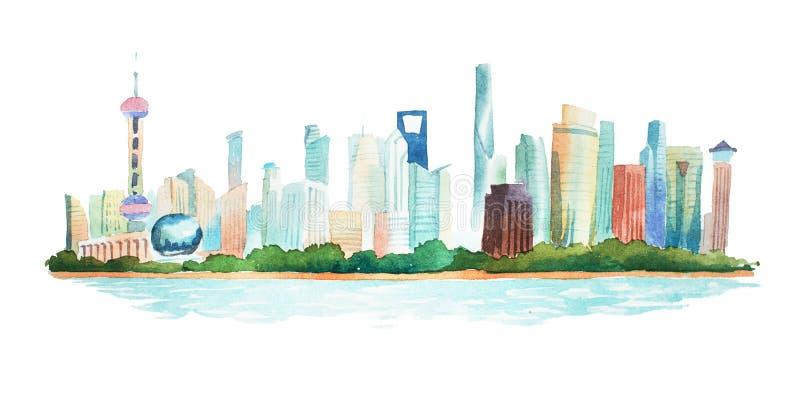 Mano de la visión panorámica dibujada con las acuarelas de la ciudad moderna grande ilustración del vector