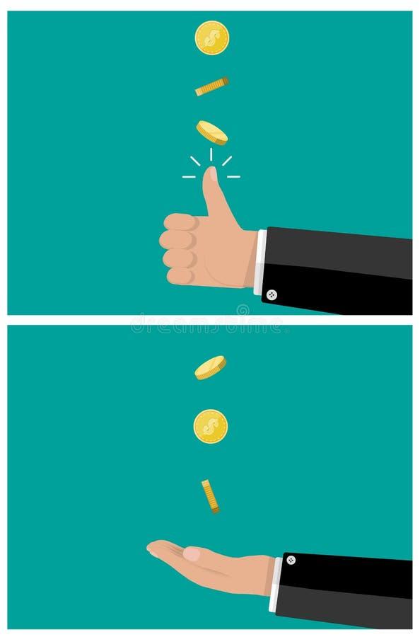 Mano de lanzar y de capturas del hombre de negocios una moneda stock de ilustración
