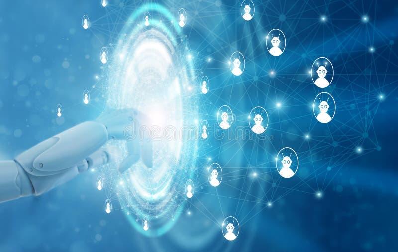 Mano de las conexiones de red conmovedoras del robot Inteligencia artificial stock de ilustración