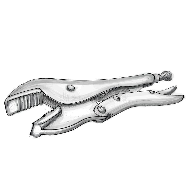 Mano de los alicates de fijación dibujada libre illustration