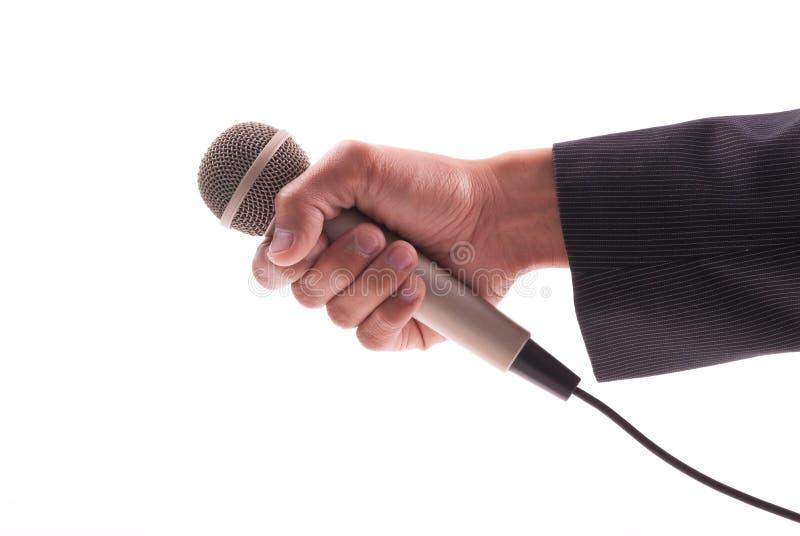 Mano de los reporteros de las noticias imagenes de archivo