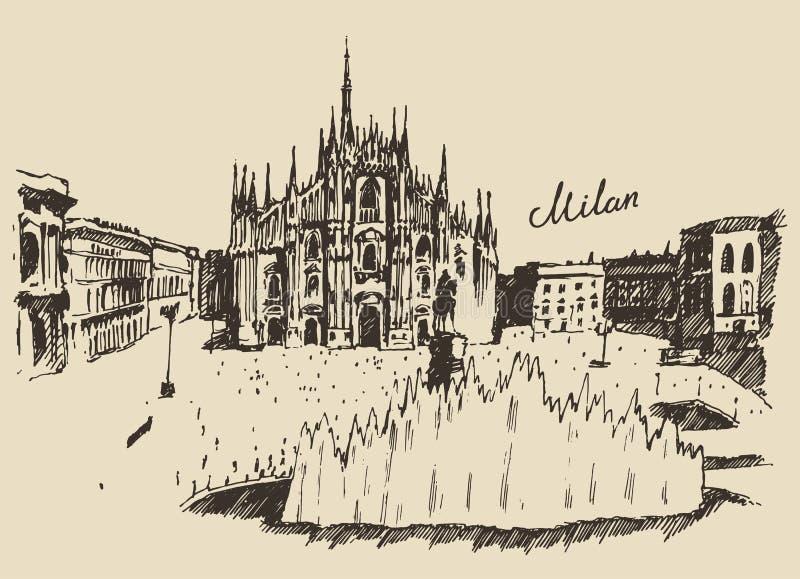 Mano de Milan Cathedral Duomo di Milano Italy dibujada ilustración del vector