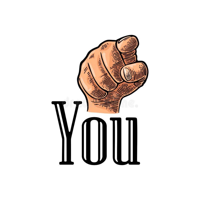 Mano de motivación del cartel que señala en usted Espectador del finger, del frente stock de ilustración