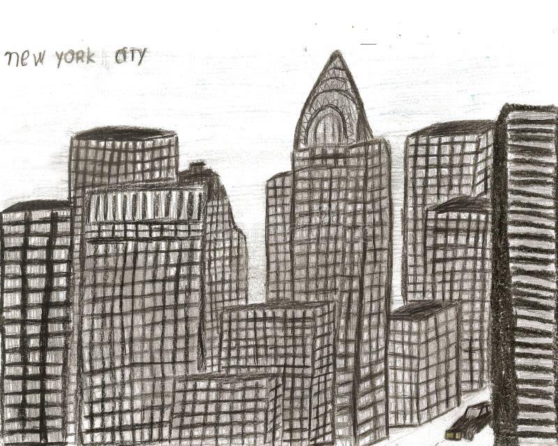 Mano de Nueva York de la ciudad dibujada por el niño, ejemplo libre illustration