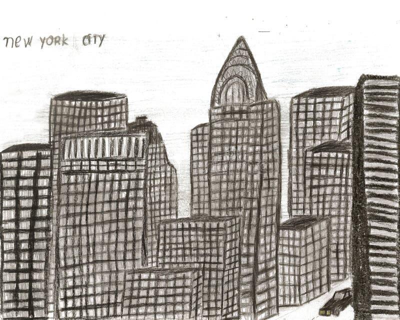 Mano de Nueva York de la ciudad dibujada por el niño, ejemplo stock de ilustración